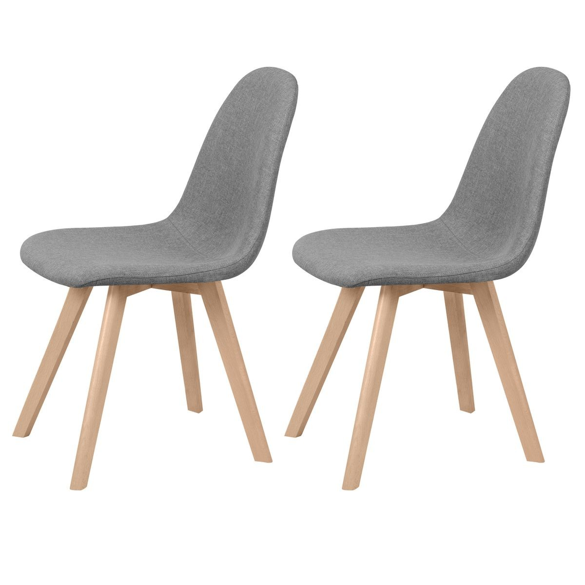 Chaise Scandinave Coque Grise Chaise Skandi Tissu Grise Lot De 2 Taille Taille