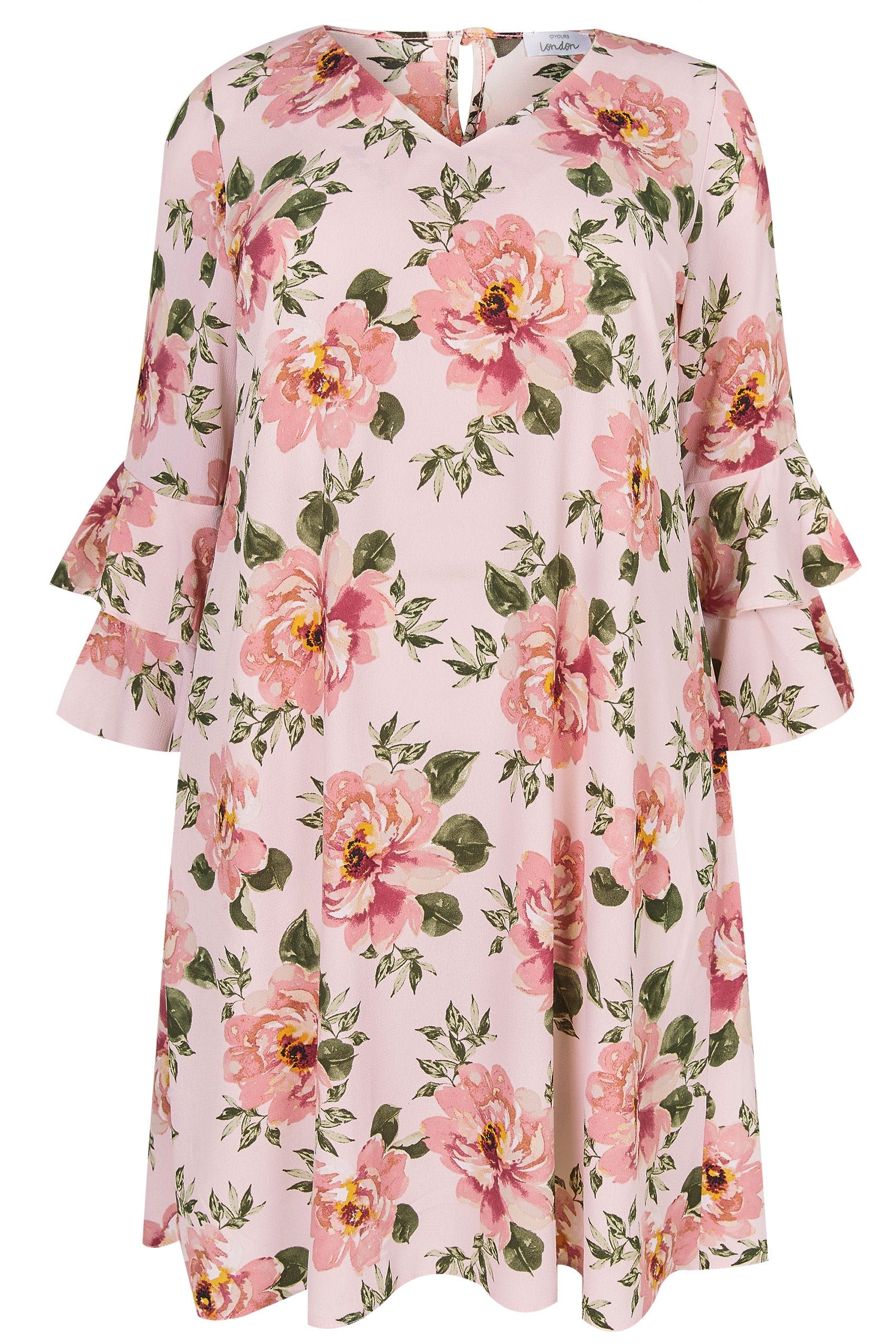 02da3c97654 YOURS LONDON Pink Floral Print Shift Dress With Layered Flute Sleeves
