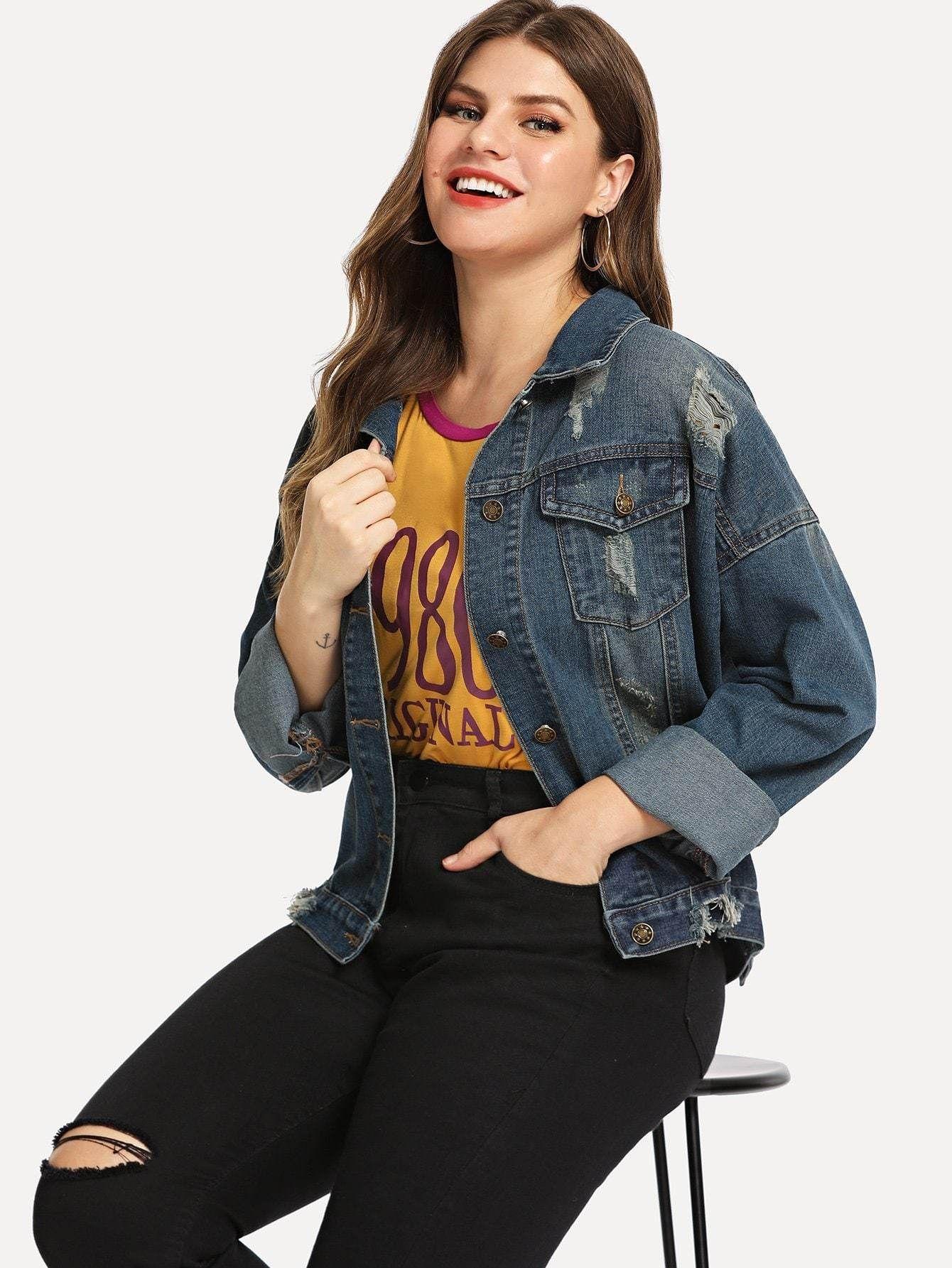 a4c5c2cecbd plus ripped drop shoulder denim jacket.  plussizedenim  plussize  fashion   outfits