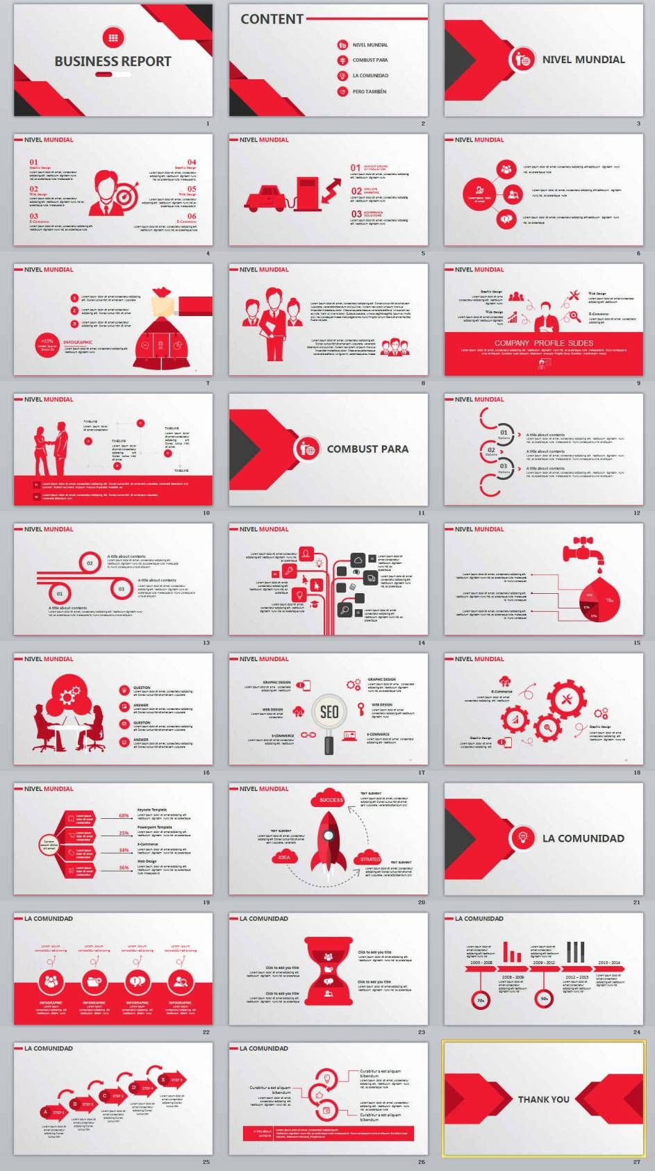 27+ red business report powerpoint template | powerpoint templates, Powerpoint templates