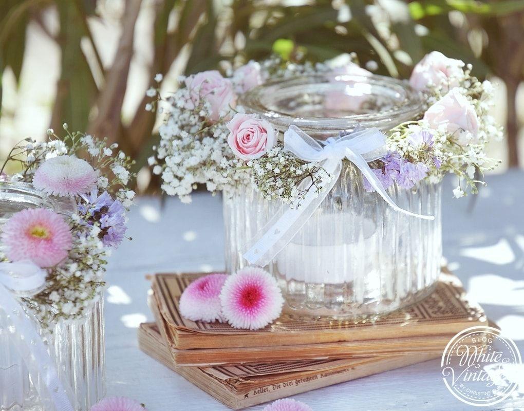 DIY  Windlicht mit Blumenkranz  romantische