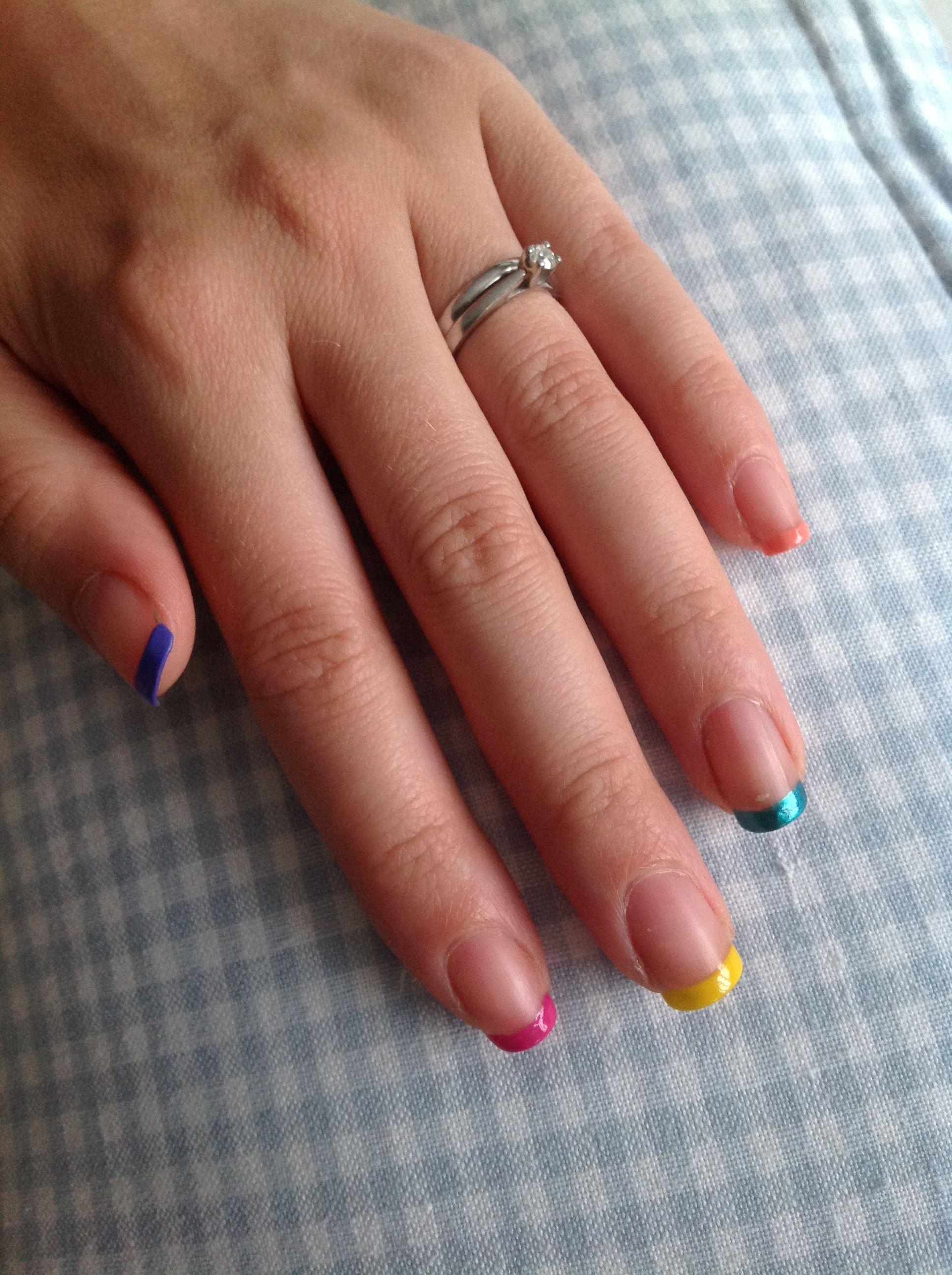 Colourful tips #nails #french #polish #bright #summer | Nails ...