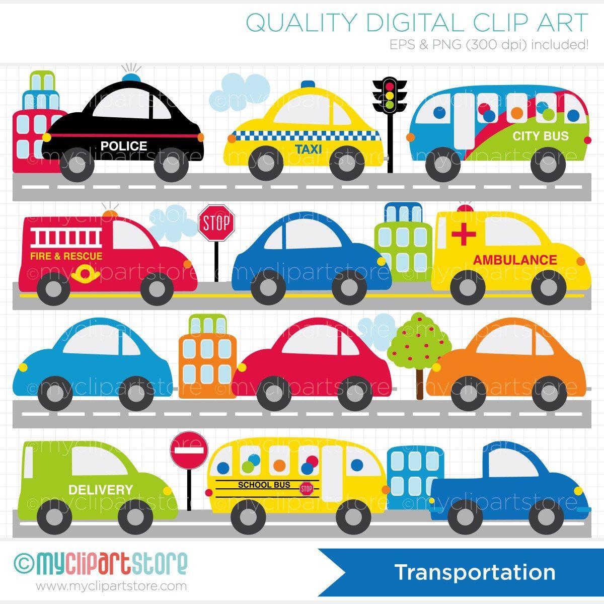City Transportation Cars Trucks Vehicles Vector