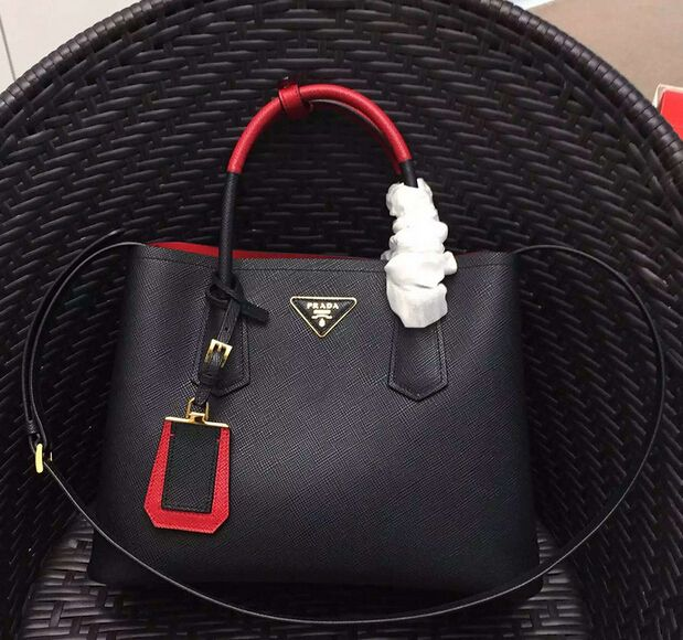 Prada bags Spring Summer Prada Prada Double Saffiano leather bag with  two-tone handle red black 8a66d833987bf