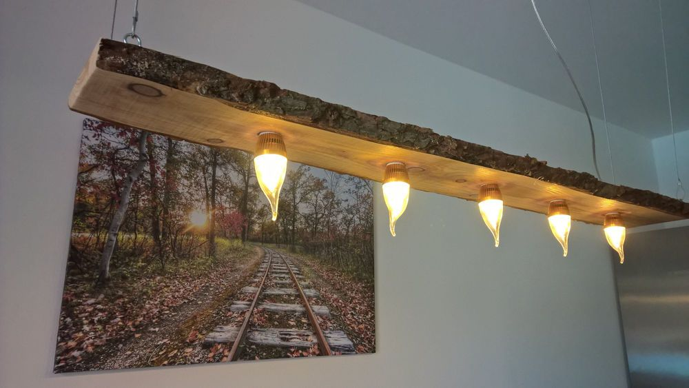 Led decken holz lampe rustikal 120cm 5x 3w massivholz neu for Led holzlampe