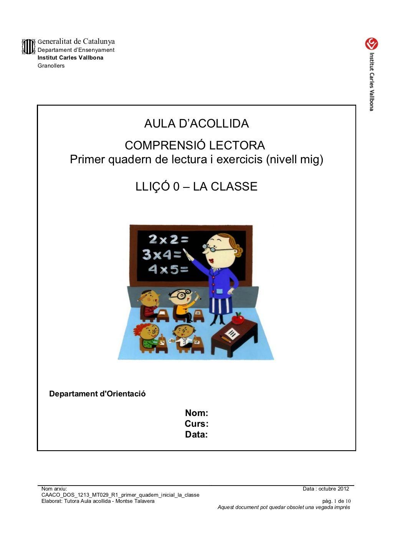 Caaco Dos 1213 Mt029 R1 Primer Quadern Inicial La Classe Lectures Comprensives Teaching Primer