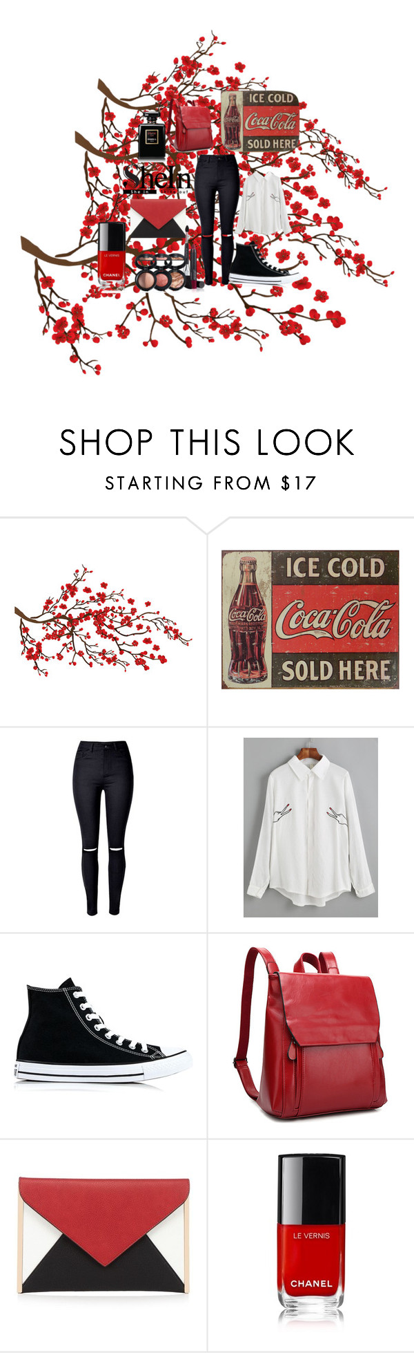 """""""Cute SheIn"""" by cloudydaydream ❤ liked on Polyvore featuring Brewster Home Fashions, Converse, Red Herring and Laura Geller"""