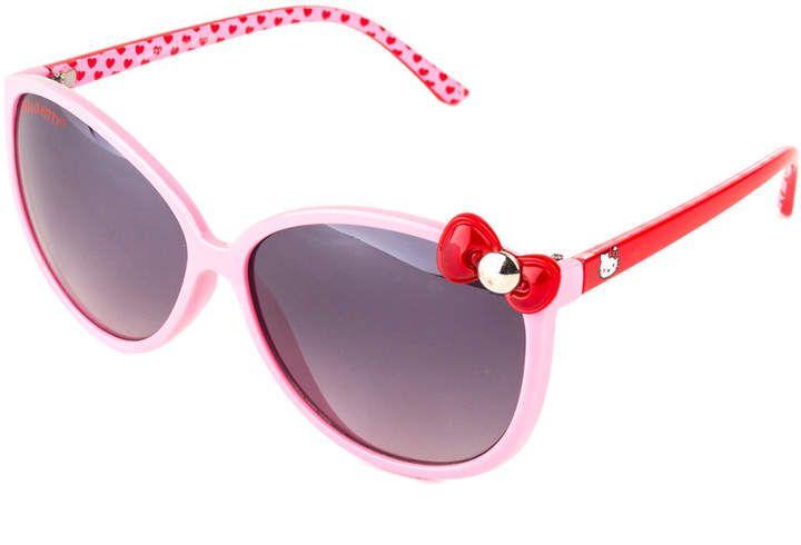76680210ac Yuka Pink Frame   Red Bow Tie Hello Kitty Sunglasses