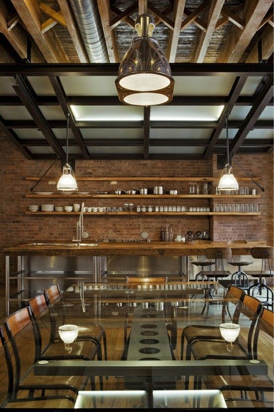 Industrial Canopy... Lighting Over Reclaimed Barn Wood Island And  Glass Topped Dining