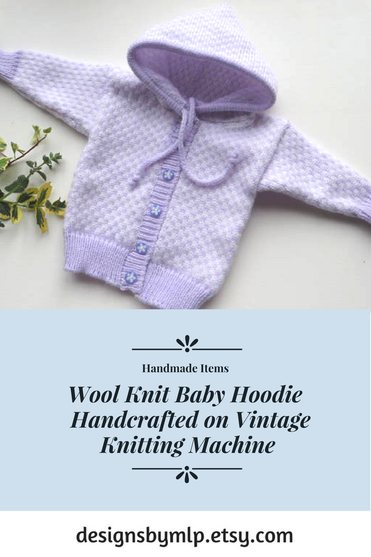 a20c67893 Wool Knit Baby Hoodie Handcrafted on Vintage Knitting Machine ...