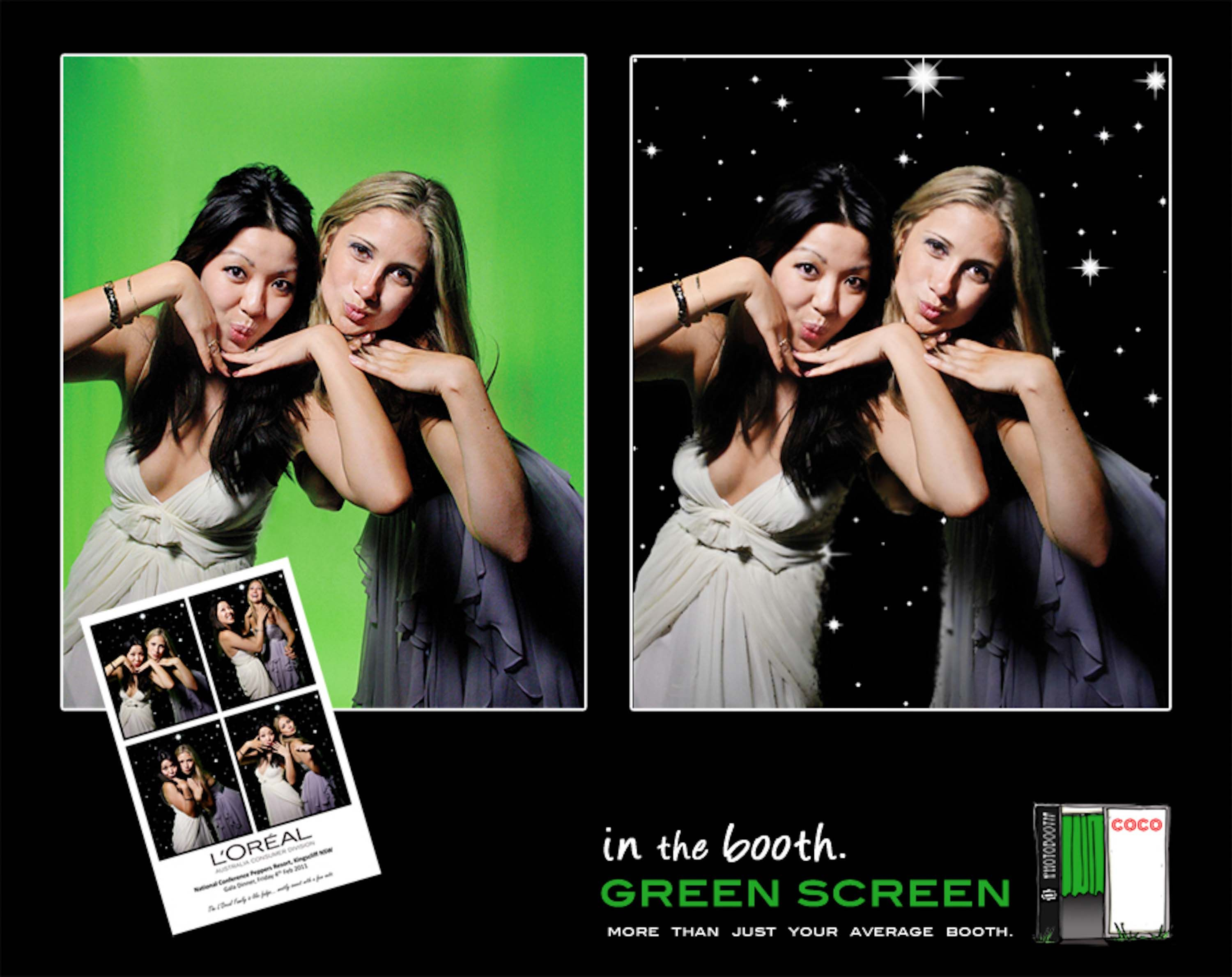 Booth photo green screen