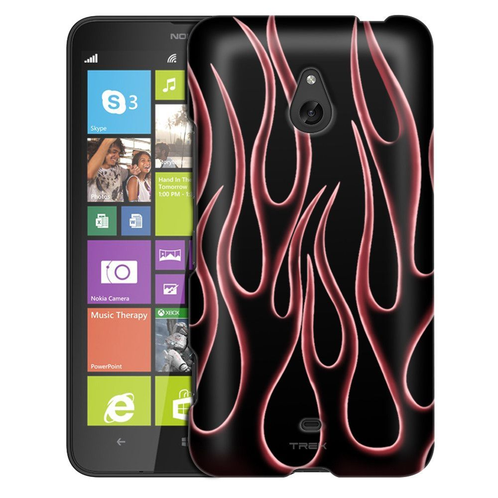 Nokia Lumia 1320 Red Transparent Flames on Black Slim Case
