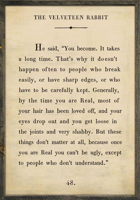 Citaten Weergeven Xbox One : One of my fav quotes~ velveteen rabbit quote vintage framed art