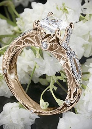 gold and diamond vintage wedding engagement ring