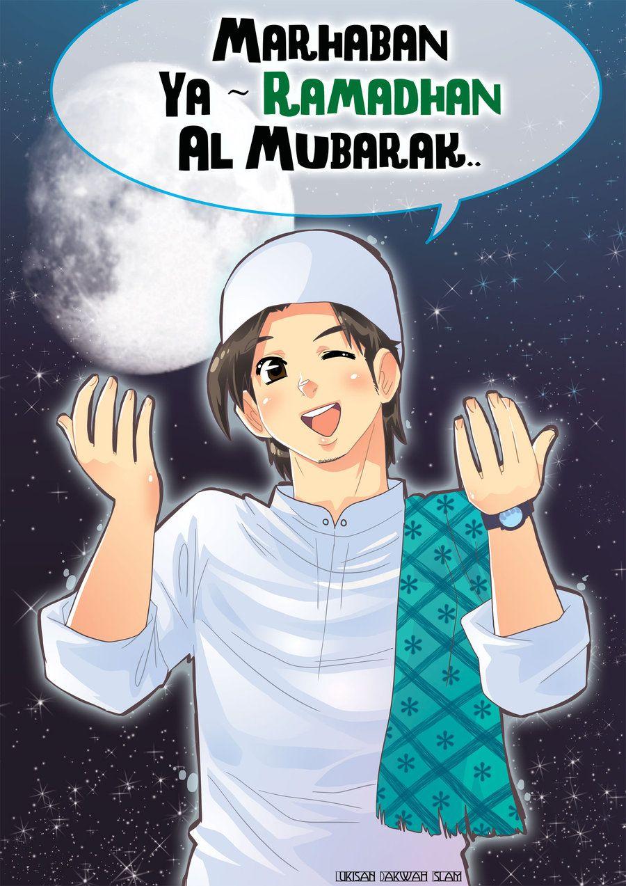 Marhaban Ya Ramadhan Kartun : marhaban, ramadhan, kartun, Marhaban, Ramadhan, Anime, Muslim,, Muslimah,, Muslim