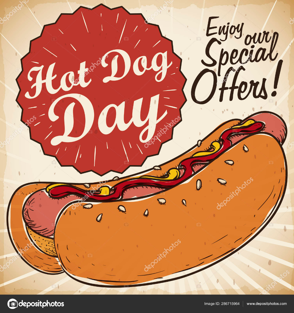 Retro Promotional Design With Special Discounts For Hot Dog Day Retro Vector Hot