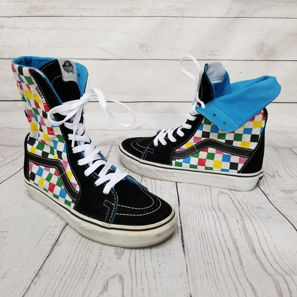 ea44594851 VANS Hi Tops Sk8 Skateboarding Fold Multi Color Checkers Checkerboard W7 M5. 5  VANS  Skateboarding