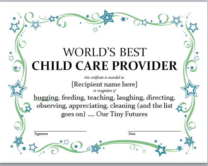 Certificates For World S Best Child Care Provider Daycare