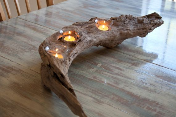 Driftwood Candle Holder Centerpiece Free Shipping by SavannahRiver