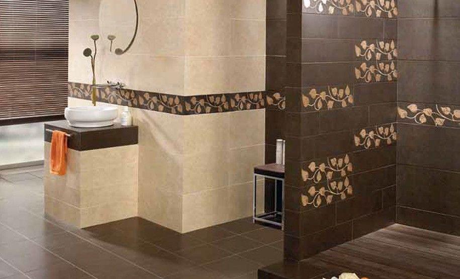 Ceramic Tile Bathroom Ideas Beautiful Bathroom Ceramic Tile Design Brown Floral Wall Accent Bathroom Wall Tile Design Bathroom Wall Tile Wall Tiles Design