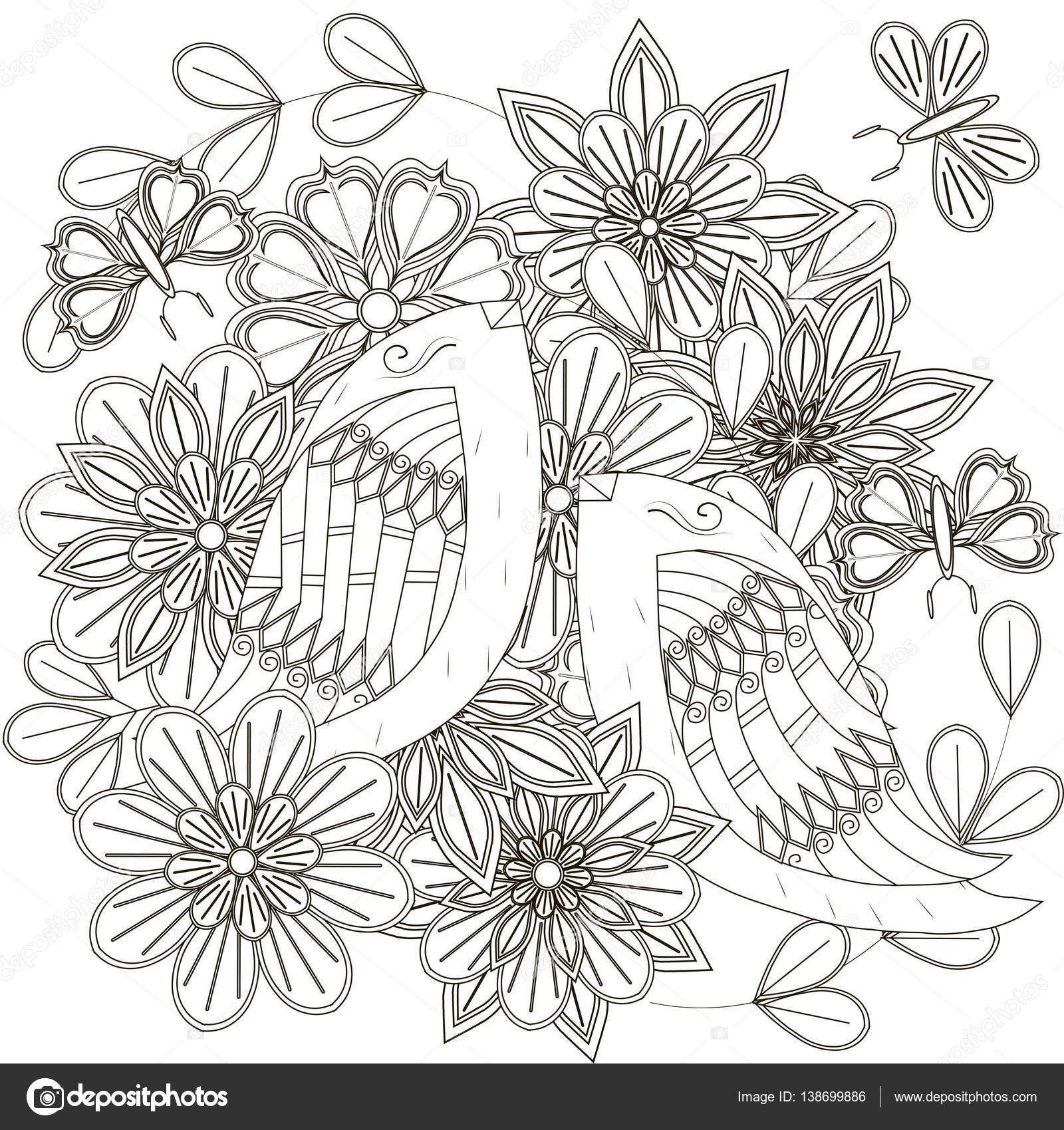 Blanco y negro boceto bouquet aves estilizadas flores y for Mural de flores y mariposas