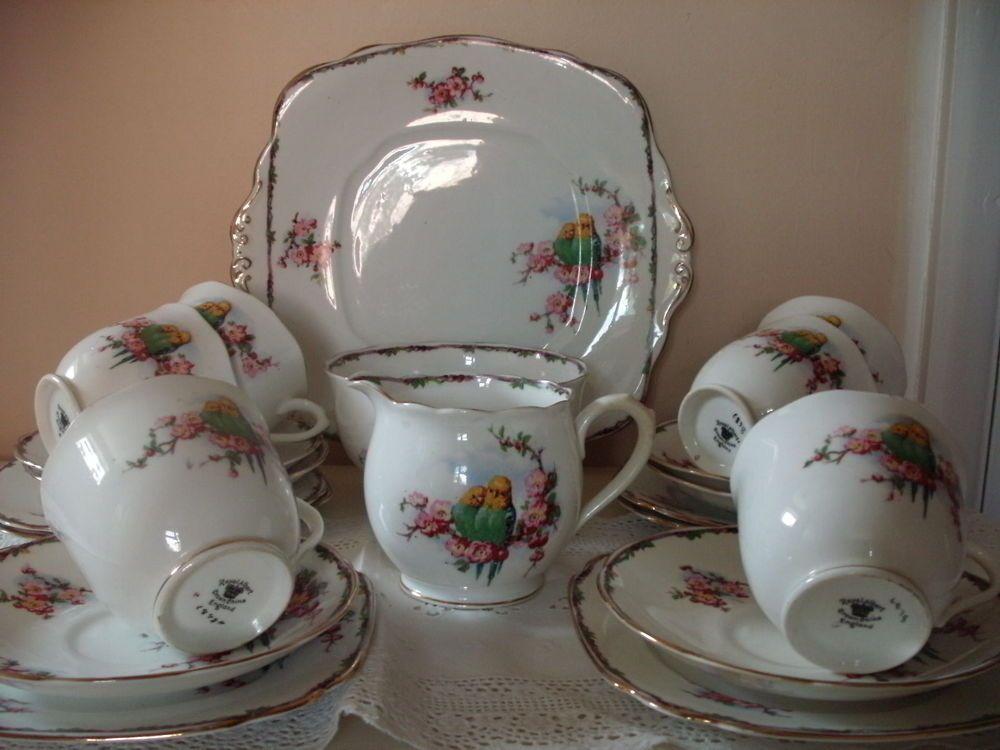 VINTAGE ROYAL ALBERT 21 PIECE BUDGIE DESIGN TEA SET CUPS SAUCERS PLATES JUG ETC