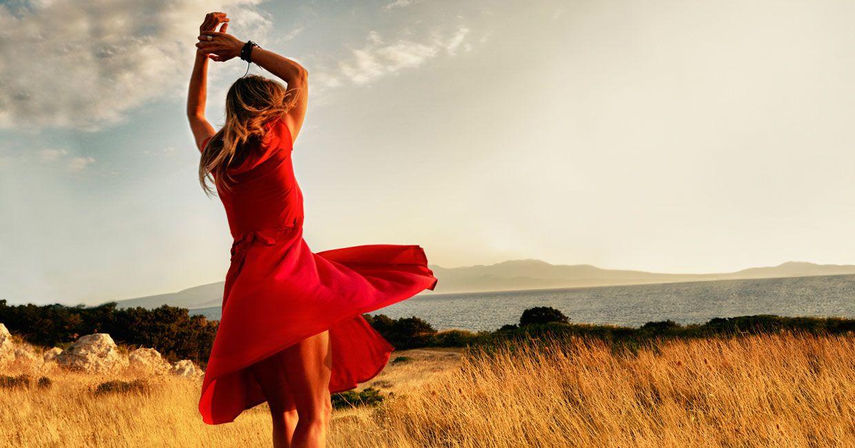 Freedom, Woman dancing Red formal dress, Women, Formal