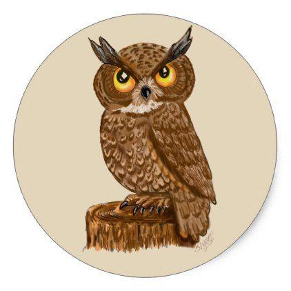 Owl stickers scrapbooking bird cartoon classic round sticker sticker stickers custom unique cool diy