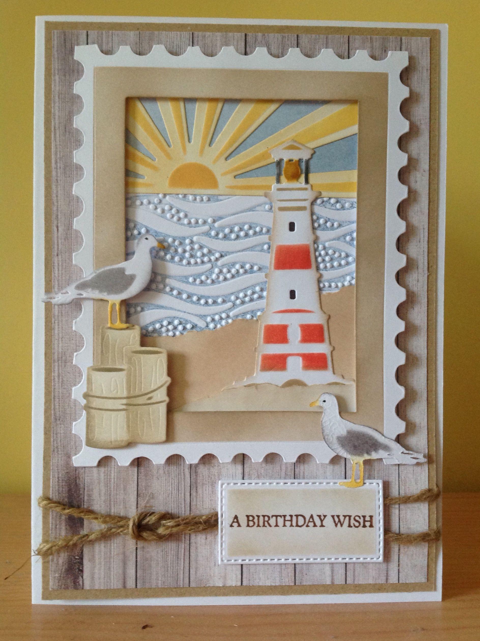 Seaside birthday card. Spellbinders 'Shoreline' dies. Tim Holtz Postage Frame. Sizzix waves embossing folder. Distress inks.