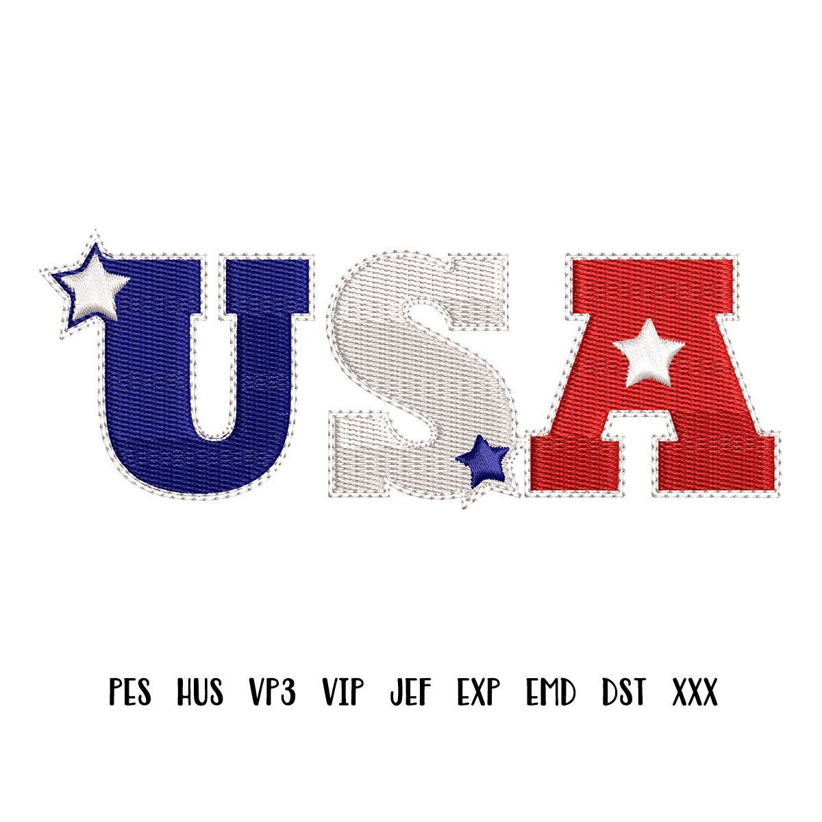 Usa 4th Of July Patriotic Machine Embroidery Design Pes Hus Vp3
