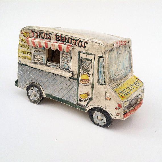 Taco Truck Ceramic Miniature Sculpture By Artknacky On Etsy Taco