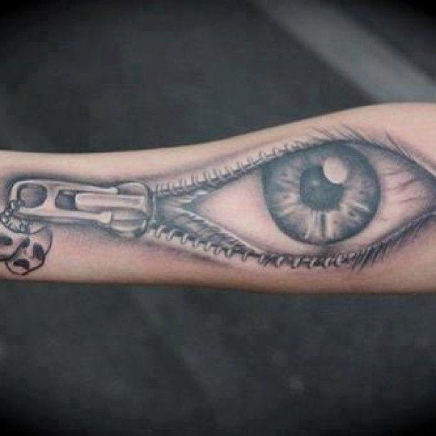 Zipper Eye Tattoo Pin 3d Tattoo Zip It Tatoos Pinterest On