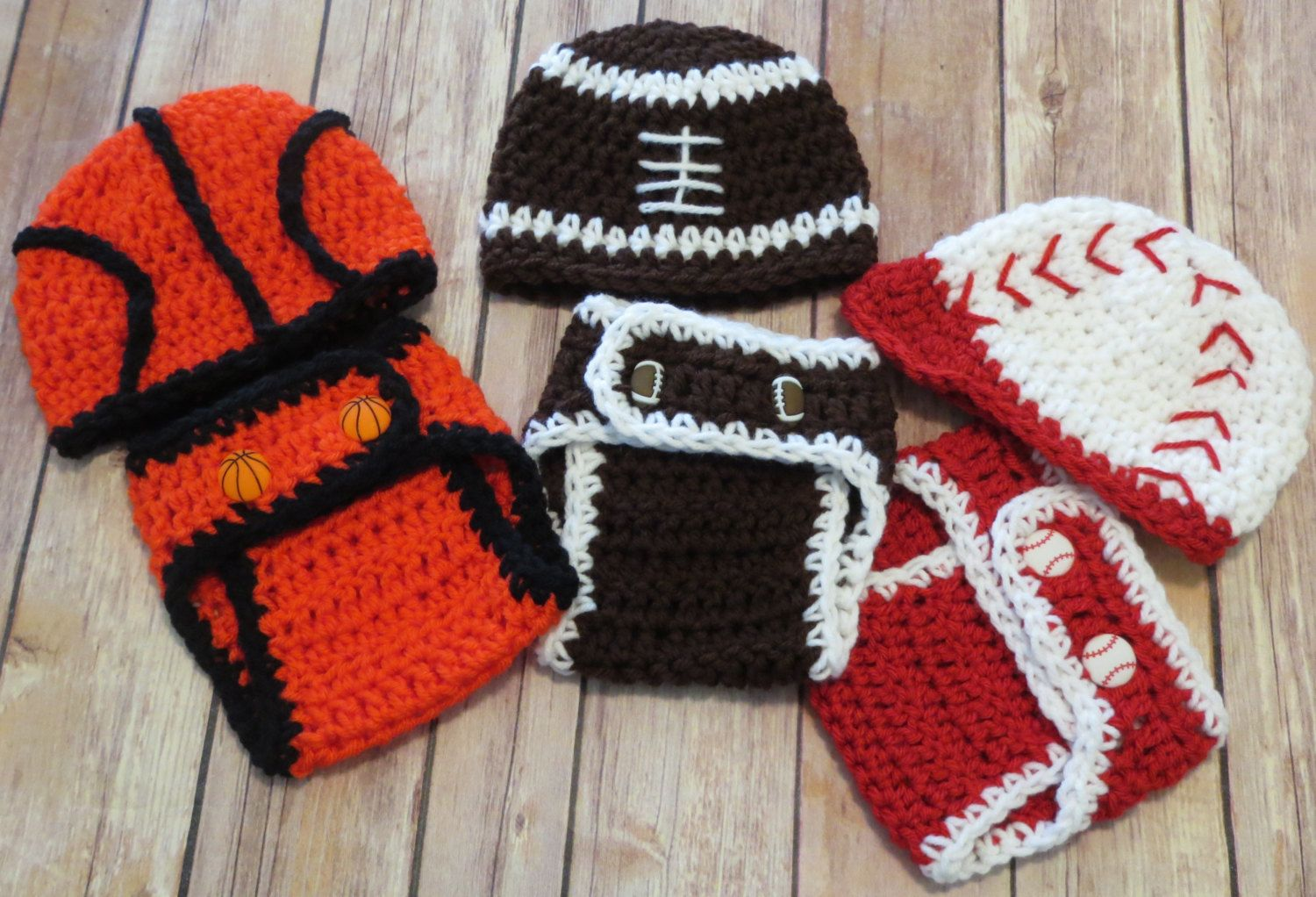 Baby Girl Boy Crochet Football Hat and Pants Set Photo Prop 0-3 months