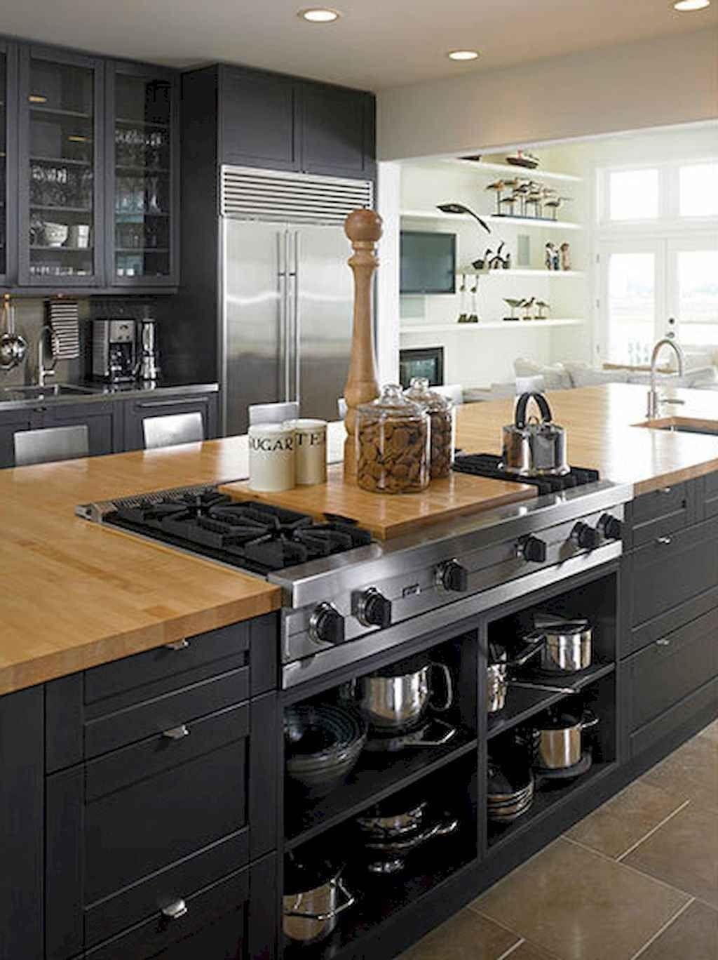 60 Black Kitchen Cabinets Design Ideas In 2020 Kitchen Island With Stove Country Kitchen Designs Kitchen Cabinet Design