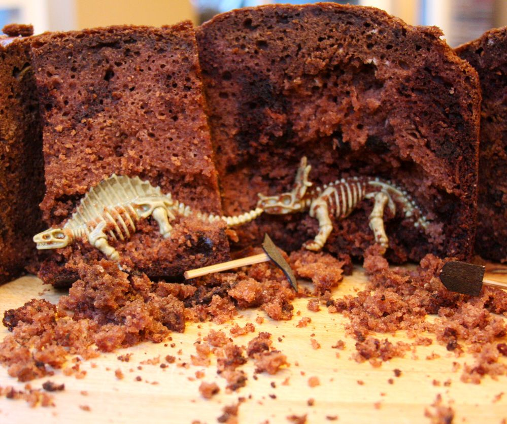 Dinosaur bones in the cake. This could be fun for Halloween, put gravestones on top and little skeletons inside!