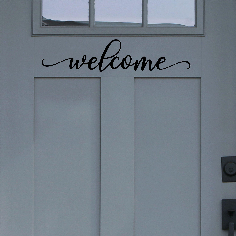 Rectangle Border Traditional Decor Welcome Vinyl Decal Front Door Decal Glass Door Vinyl Lettering