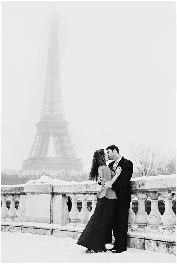 Eiffel Tower the romantic snowy setting © L'Amour de Paris Romantic Portraits via French Wedding Style