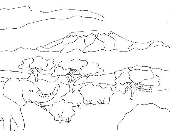Mount Kilimanjaro Coloring Page Tanzania Coloring Pages