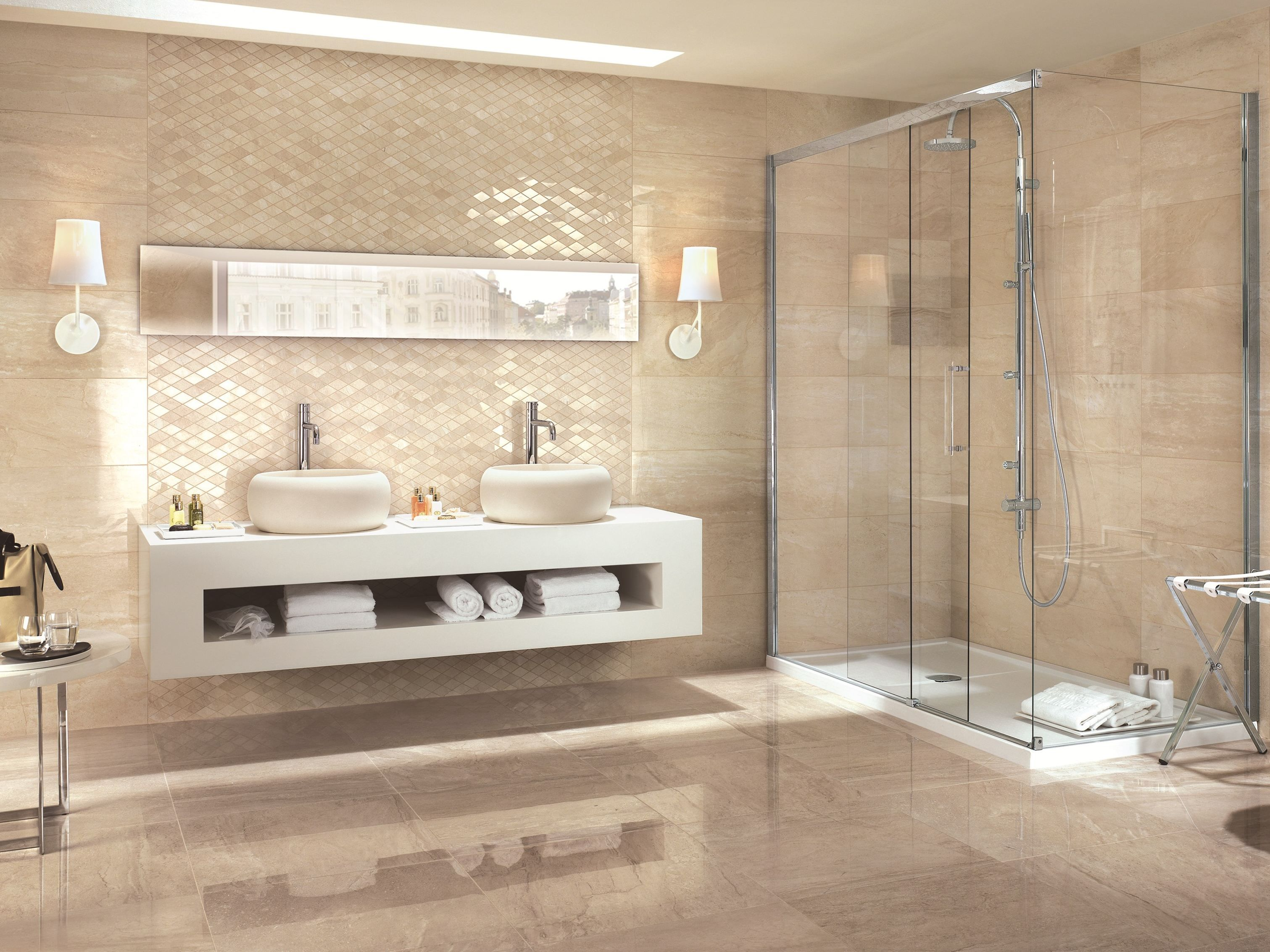Denizli Beige Travertine Bath Lively And Brilliand Travertine