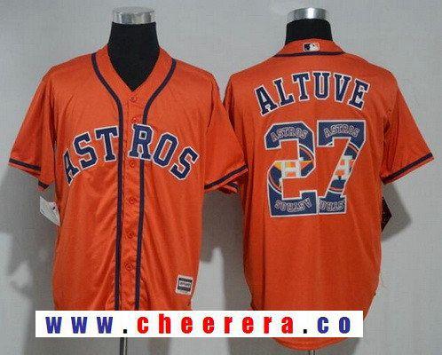 best sneakers c930b e5f9d Men's Houston Astros #27 Jose Altuve Orange Team Logo ...
