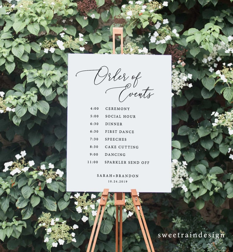 Wedding Day Timeline Sign Printable Order Of Events Sign Etsy In 2020 Wedding Itinerary Wedding Timeline Wedding Day Timeline