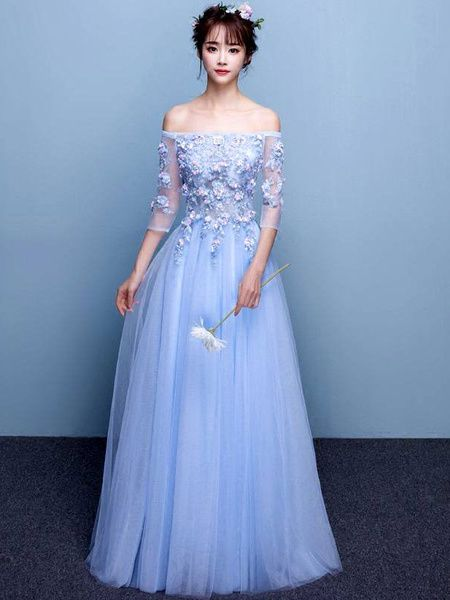 d35b4102f94 Long Prom Dress Tulle Baby Blue Party Dress Off The Shoulder Beading Flower  Half Sleeve A Line Maxi Occasion Dress