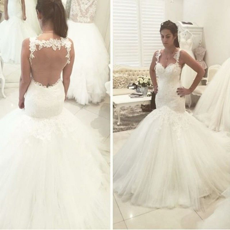 Trumpet Lace Back Wedding Dress