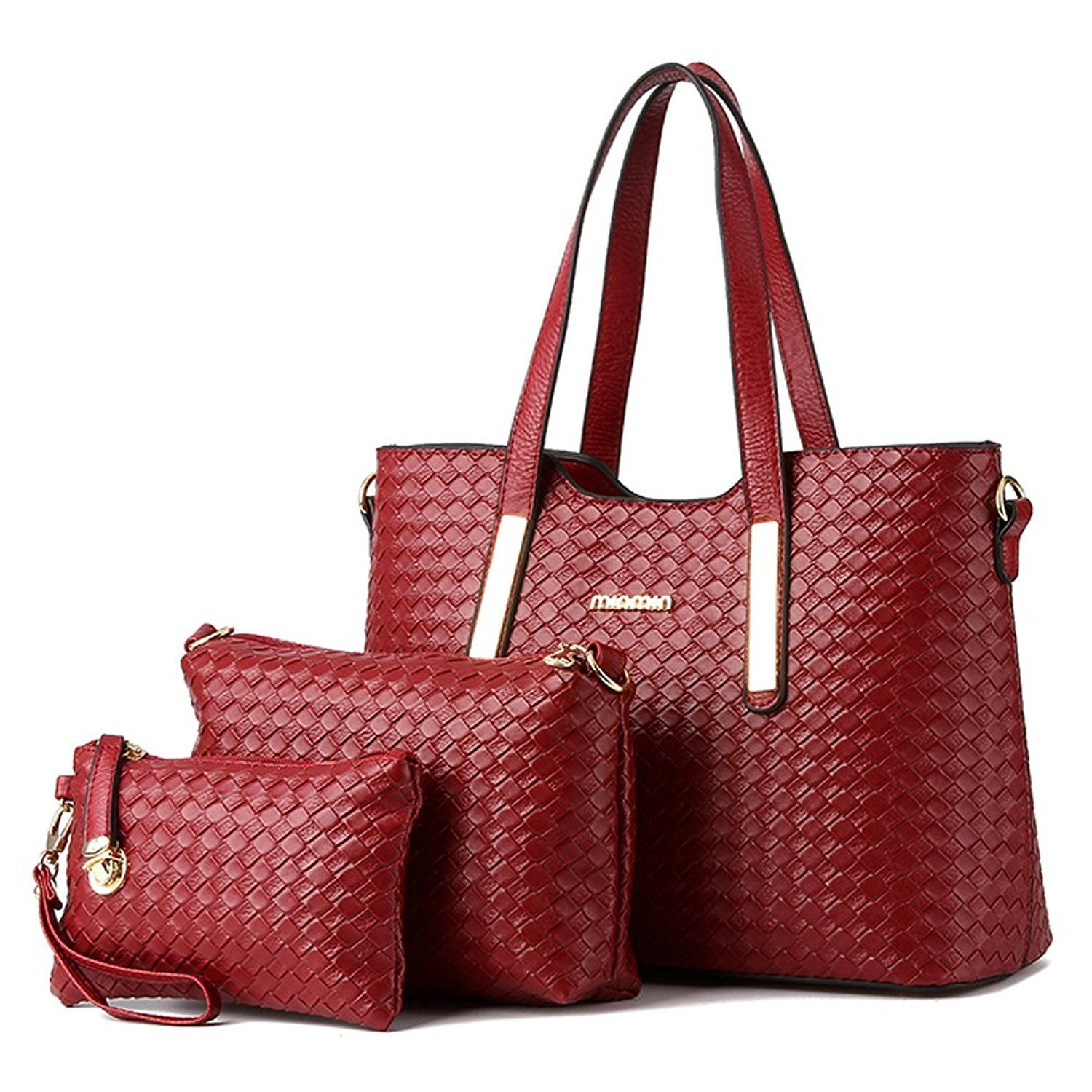 147fc66d54a0 Vincico174 Women 3 Piece Tote Bag Pu Leather Weave Handbag Shoulder Purse  Bags