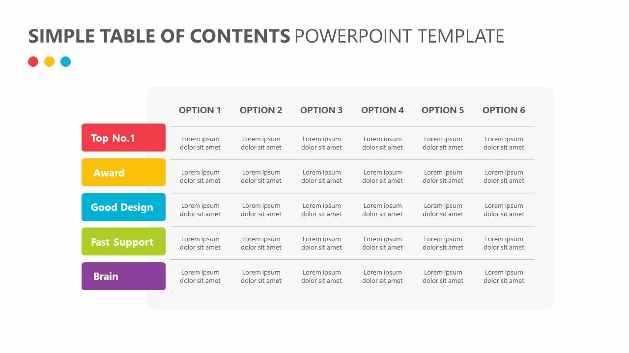 Simple Table of Contents PowerPoint Template Slide1 | PowerPoint ...
