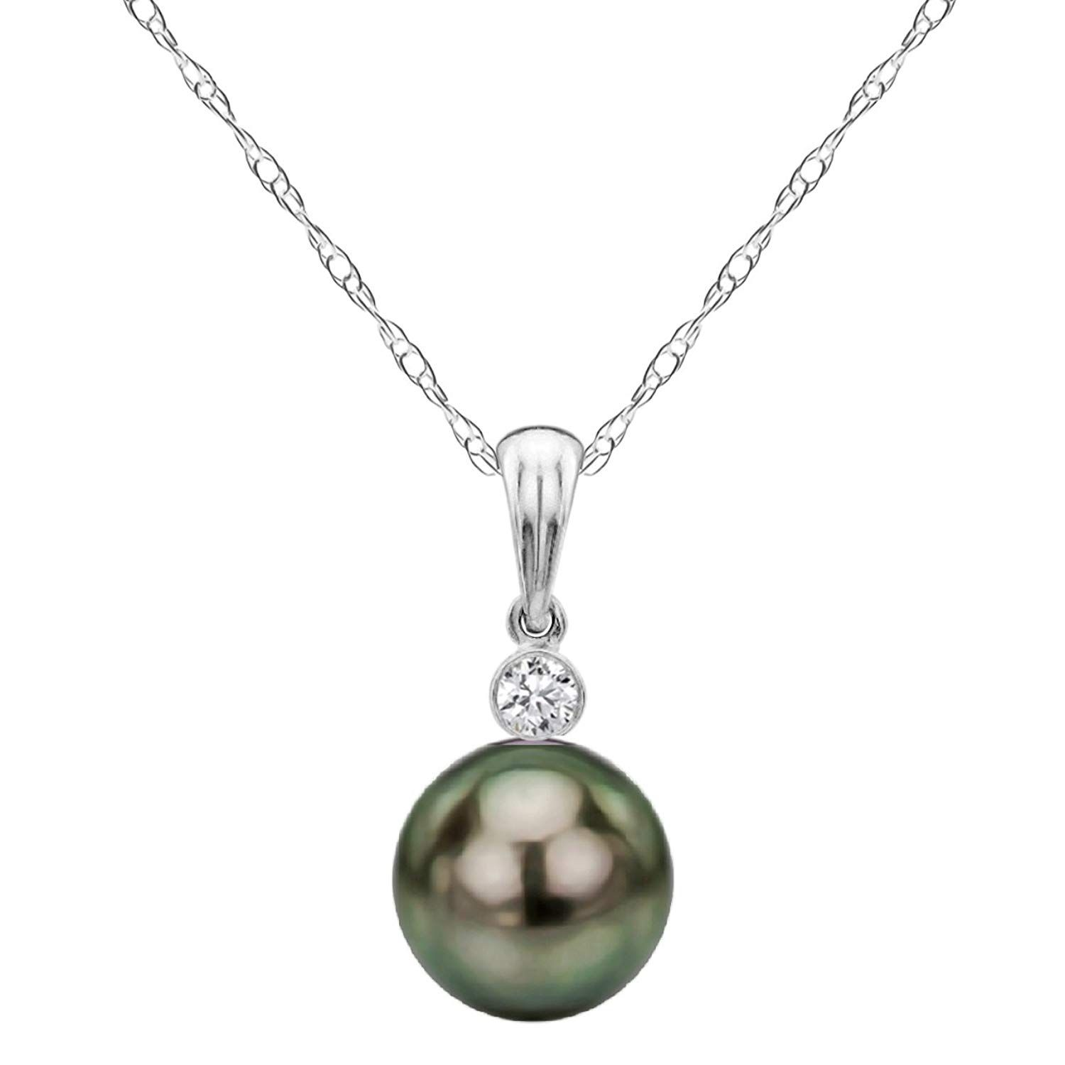 Japanese AAAA 6-11.5mm Pink Freshwater Cultured Pearl Pendant Necklace 16//18 Solitaire Necklace Pendant