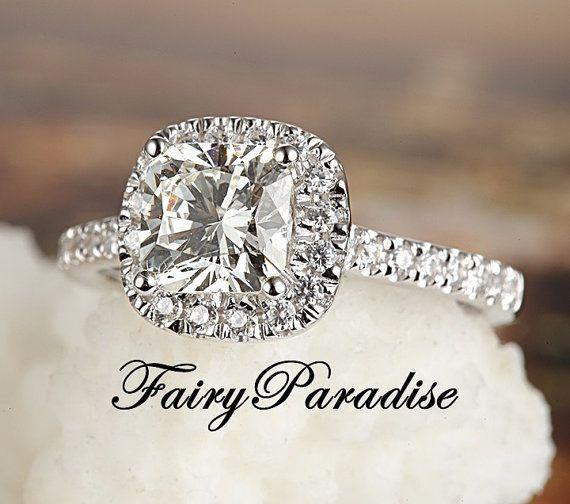 Engagement Ring Bridle Set Halo Diamond Cushion Cut