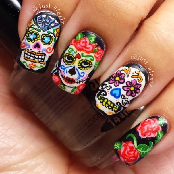 Instagram photo by justalexiz nail nails nailart nail it sugar skull nail art by justalexiz prinsesfo Gallery