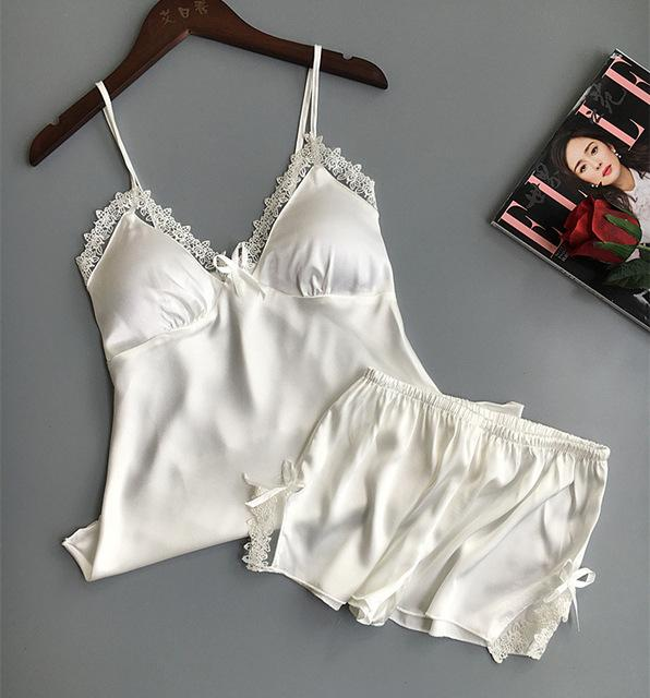 6b7f6e15612 Padded Top Two Piece Set Q26 Women Pajamas Sexy Simple Lingerie#Set #Piece#Padded