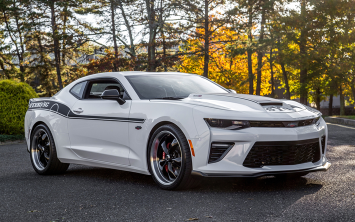 Download Wallpapers Chevrolet Camaro 2018 White Sports Coupe
